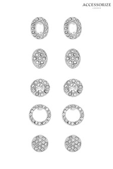 Accessorize 5 x Crystal Effect Stud Earrings Pack