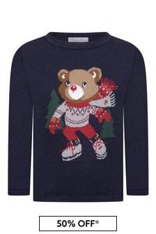 Boys Navy Knitted Christmas Jumper