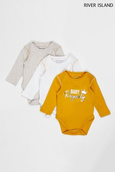 River Island Yellow Light 3 Plain Babygrows