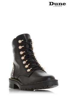 Dune London Pearley Black Leather Pearl Embellished Hiker Boots