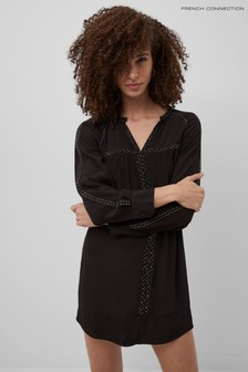 French Connection Black Ising Drape Crew Neck Dress