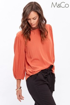 M&Co Orange Plain Crinkle Metallic Top