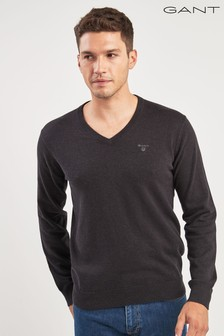 GANT Charcoal V-Neck Knit Jumper