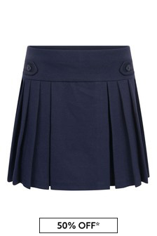 Girls Navy Pleated Ponte Skirt