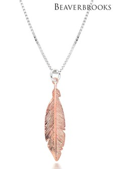 Beaverbrooks Silver Rose Gold Plated Feather Necklace