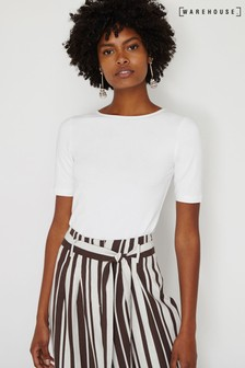 Warehouse White Scoop Back Top