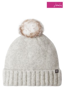 Joules Grey Snugwell Bouclé Hat With Pom