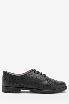 Girls School Shoes   Black Leather