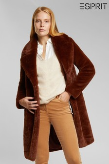 Esprit Brown Faux Fur Jacket