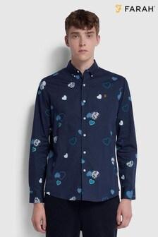 Farah Heart Print Long Sleeved Darrell Shirt