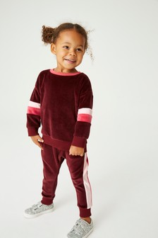 Velour Colourblock Co-ord Top/Joggers Set (3mths-7yrs)