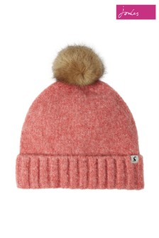 Joules Pink Snugwell Bouclé Hat With Pom