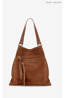 Mint Velvet Brown Leanne Tan Suede Shoulder Bag