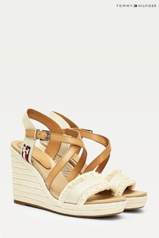 Tommy Hilfiger Cream Fringes High Wedges