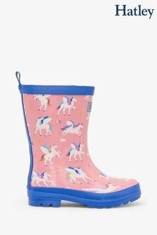 Hatley Pink Magical Pegasus Shiny Rain Boots