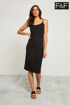 F&F Black Varigated Ribbed Strap Midi Dress