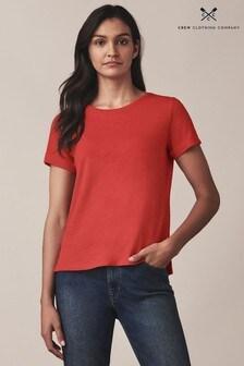 Crew Clothing Red Slub Cotton T-Shirt
