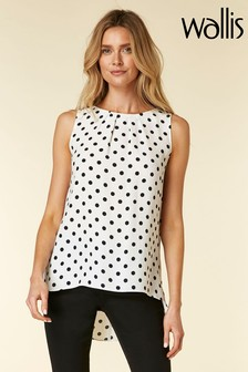 Wallis Black Mono Spot Hi Low Hem Vest