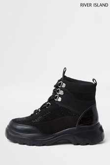 River Island Black Hiker Hybrid High Top Trainers