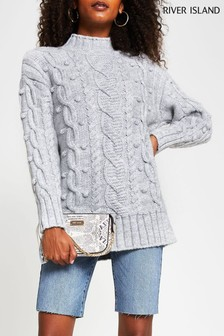 River Island Grey Ultimate Cable Jumper