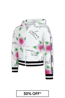 Monnalisa Girls White Cotton Zip Up Top