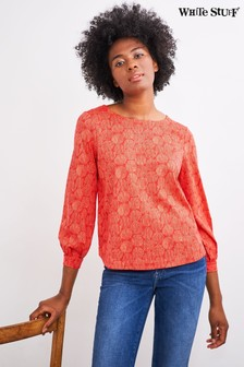 White Stuff Pink Puff Sleeve Top