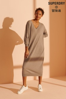 Superdry Wool Cashmere V-Neck Dress