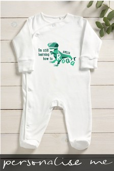 Personalised Baby Saurus Sleepsuit