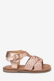 Leather T-Bar Plait Sandals (Younger)