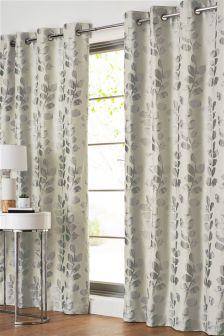 Lustre Leaf Jacquard Eyelet Curtains