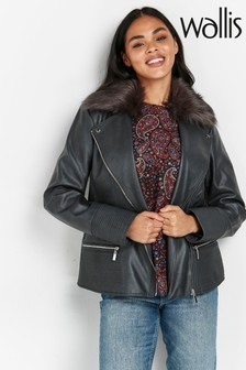 Wallis Grey Faux Fur Collar Biker Jacket