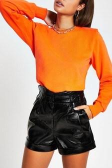 River Island Orange Shoulder Pad Sweater