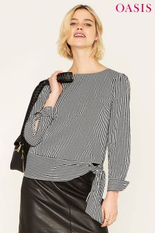 Oasis Black Sash Tie Ticking Stripe Cotton Top