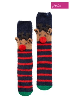 Joules Blue Christmas Super Soft Fluffy Socks