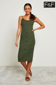 F&F Khaki Varigated Ribbed Strap Midi Dress