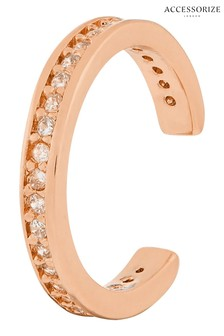 Accessorize Rose Gold Plated Pave Ear Cuffs