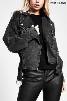 River Island Black Denim Jacket