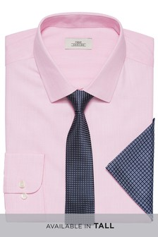 Textured Regular Fit Shirt With Tie And Pocket Square Set
