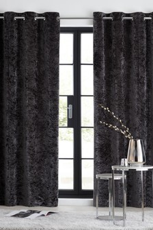 Crushed Velvet Eyelet Lined Curtains
