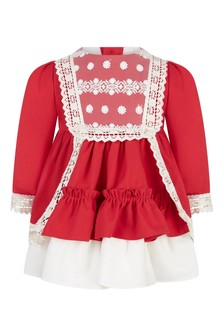 Baby Girls Red Lace Trim Dress