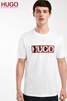 HUGO White Dicagolino Crew Neck Logo T-Shirt