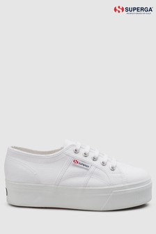 Superga® White Canvas 2790 Flatform Trainers