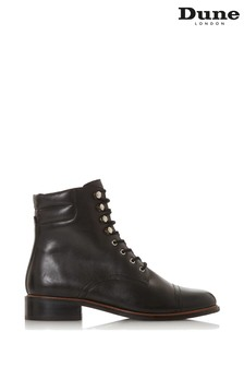 Dune London Pitch Black Leather Lace-Up Ankle Boots