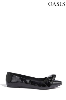 Oasis Black Patent Bow Flat Pump