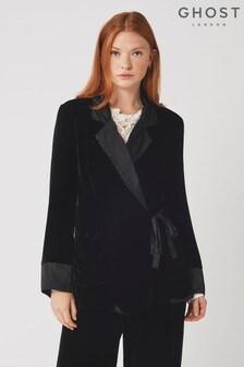 Ghost London Black Alexis Silk Velvet Jacket