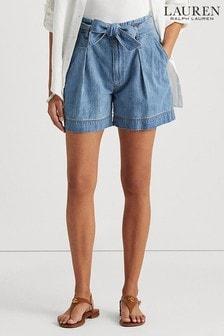 Lauren Ralph Lauren® Indigo Wash Belted Zaviera Shorts