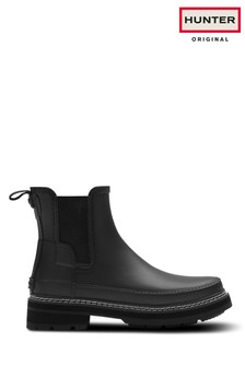 Hunter Black Refined Stitch Detail Chelsea Boots