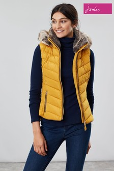 Joules Maybury Chevron Padded Gilet With Hood