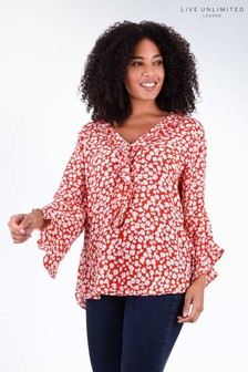 Live Unlimited Red Ditsy Ruffle Blouse