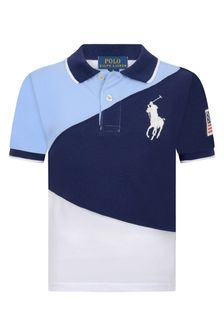 Boys Navy Multi Cotton Polo Top